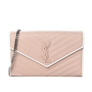 {Saint Laurent} Envelope Chain Wallet Pink Bag